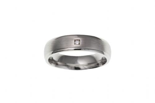 Silver Gents Stone Set Satin Finish Band Ring